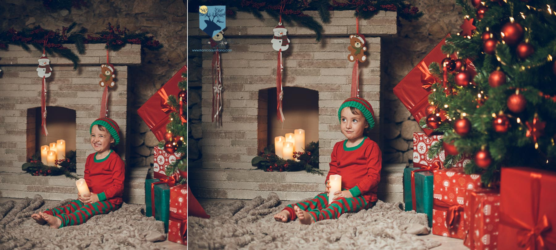 fotografia foto fotografa estudio estudi figueres girona familia nen nena niño niña navidad nadal postal